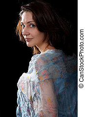 Woman in peignoir - Woman in blue peignoir isolated on the...