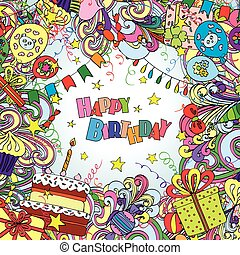 Happy Birthday doodle greeting card on background with...