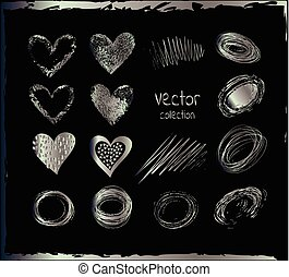 Vector set of silver hearts.