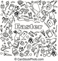 Easter coloring book design vector line art - Easter...