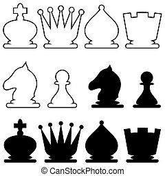 chessmen - set of silhouette images of chess figures