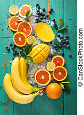 Ingredients for a fruit smoothie