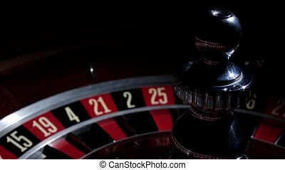 Roulette wheel in stop with running white ball - Roulette...