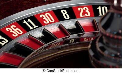 Roulette wheel starts running and stops with white ball -...