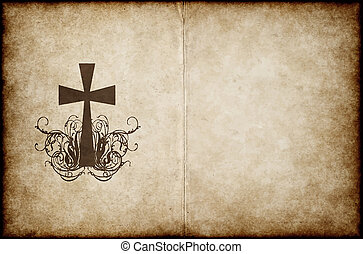 cross on old parchment