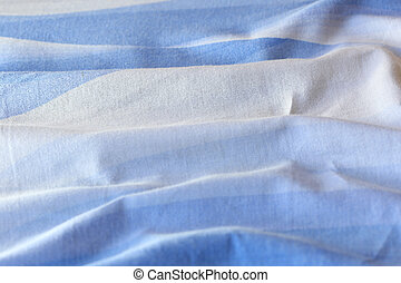 Texture crumpled bedsheet blue and white colors - The...