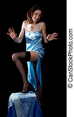 Woman in peignoir - Woman in blue peignoir and tights...