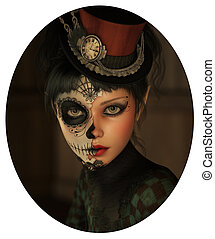 Half Catrina Makeup, 3d CG - 3d computer graphics of a girl...