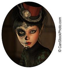 Half Catrina Makeup, 3d CG - 3d computer graphics of a girl...