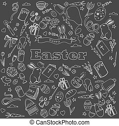 Easter chalk design vector line art - Easter chalk line art...