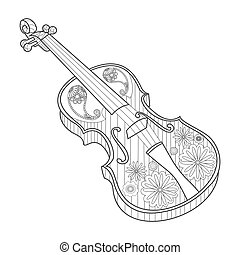 Coloring for adults violin vector illustration