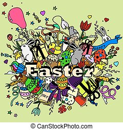 Easter design vector line art - Easter line art design...