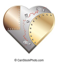 Metal heart cracked assembled from copper, silver and gold...