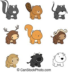 sweet baby animals cartoon in vector format