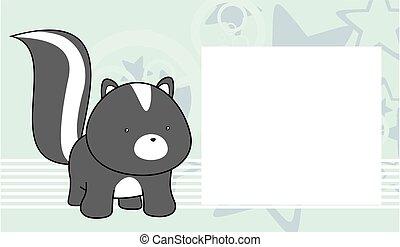 sweet baby skunk cartoon frame card - sweet baby skunk...