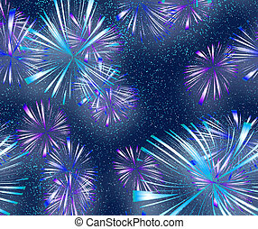 fireworks - big bright explosive fire works in the night sky