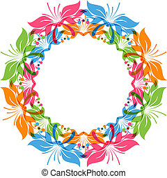 Floral wreath, round ornament, circles pattern, vector...