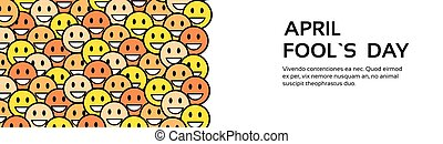 Smile Yellow Faces Fool Day April Holiday Greeting Card Copy...