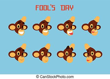 Monkey Face Set Emotion Fool Day April Holiday Collection...