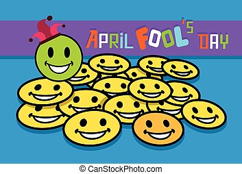Smile Yellow Faces Fool Day April Holiday Greeting Card...