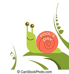 Snail Smile On Green Leaf Fool Day April Holiday Vector...