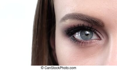Blue eye makeup. Beautiful eyes makeup. Closeup - Blue eye...
