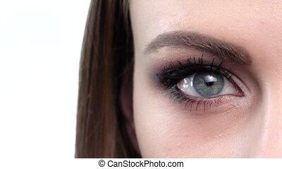 Blue eye makeup. Beautiful eyes makeup. Closeup