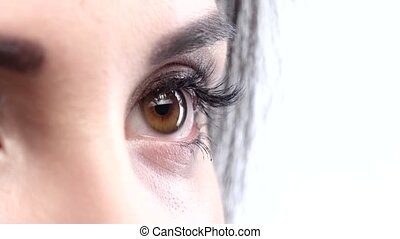 Woman brown eye with extremely long eyelashes Close up Slow...