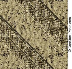 sand tracks - pair of tye tracks go across the desert or...