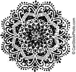 floral, emblema, desenho