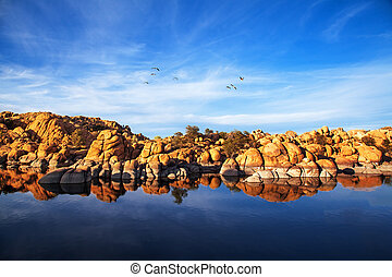 Red Rock Reflection On Arizona Lake - Beautiful red rock...