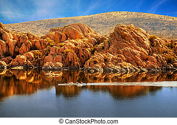 Rowboating in Peaceful Watson Lake - Arizona - Family rowing...