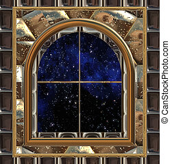 window looking out to space or night sky