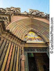 Neo gothic portico of Iglesia de los Capuchinos, Cordoba,...