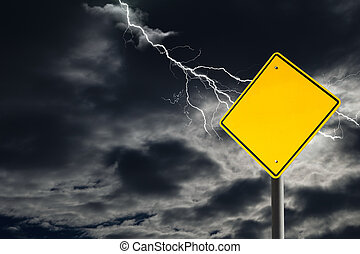 Empty Warning Sign Against Cloudy and Thunderous Sky - An...