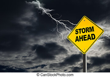 Storm Ahead Warning Sign in Thunderous Background - Storm...