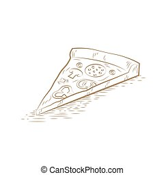 Pizza slice vector - Pizza slice sketch drawing. Vector...