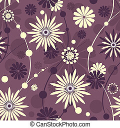 Seamless violet floral pattern (vec