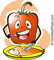 capsicum - Illustration of capsicum eating to fish with...
