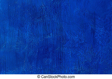 Old scratched and chapped painted royal blue wall Abstract...