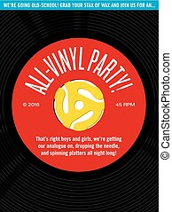 All-Vinyl Record Party Invitation - Vector design featuring...