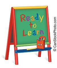 Ready to Learn, Childrens Easel - Ready to Learn text on...