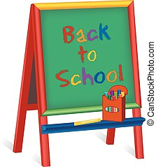 Back to School, Childrens Easel - Back to School text on...