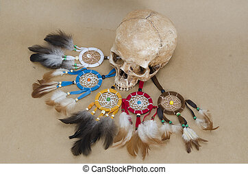 dream catcher with human skull