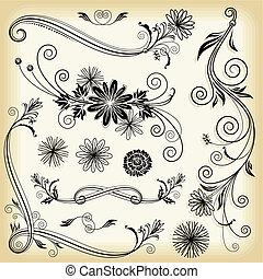 Floral Decorative Elements - Set of floral elements design...