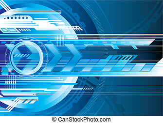 Digital Tech - Blue Futuristic technology background vector...