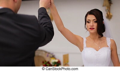 Young couple preparing their first dance for being...