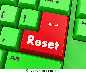 reset - Text reset button 3d render