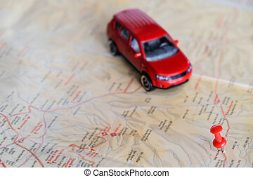 Pin on a map and car toy mark where to go - Pin on a map and...