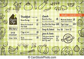 organic food vegan restaurant menu board or placemat...